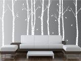 Tree Wall Mural Stencil Wall Birch Tree Nursery Decal forest Kids Vinyl Sticker Leaves