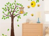 Tree Wall Murals for Nursery Honey Bear and Bees Wall Decal Tree Wall Decal Nursery Kids Wall
