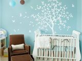 Tree Wall Murals for Nursery White Tree Wall Decal Nursery with Birds Studio Wall Decoration