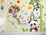 Treehouse Mural Shijuehezi] Panda Bamboo Wall Stickers Pvc Diy Monkeys Tree House