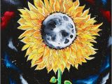 Trippy Wall Murals Moonflowers Oil Painting Sunflower Painting Moon Space Galaxies
