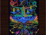 "Trippy Wall Murals Psy Backdrop ""antimaterial"" Uv Blacklight Tapestry Glow Visionary"