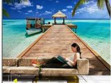 Tropical Beach Wall Mural Beach Resort Wall Mural 8 921 In 2019