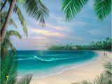 Tropical Beach Wall Mural Hawaiian Beach Promenade Cross Stitch Pat Tropical Tbb