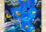 Tropical Fish Wall Mural Dophin Chasing Coral Fish Ocean Floor Decals 3d