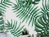 Tropical Leaf Wall Mural Green Watercolor Monstera & Palm Leaf Removable Wallpaper by