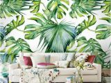 Tropical Leaves Wall Mural Tropical Plants Green Leaves Wallpaper Mural ㎡