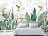 Tropical Murals Cheap 3d Tropical Banana Blätter Vogel Tapete Wandbild Für Wohnzimmer Wand