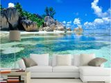 Tropical Murals Cheap Custom Mural Wallpaper 3d Ocean Sea Beach Background Non Woven