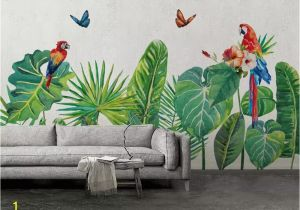Tropical Murals Paintings Beibehang Custom Mural Wallpaper Hand Drawn Tropical forest Colorful