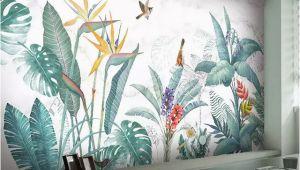 Tropical Murals Paintings Modern nordic Hand Painted Tropical Plants Flower Bird Leaf