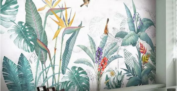 Tropical Murals Paintings Modern nordic Hand Painted Tropical Plants Flower Bird Leaf