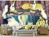 Tropical Rainforest Wall Mural Großhandel High End Custom 3d Fototapete Wandbilder Tapeten Pastoralen Retro Tropical Rainforest Drei Papagei –lgemälde Hintergrund Wand Wohnkultur