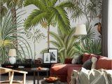 Tropical Rainforest Wall Mural Tropical Rainforest Green Plants Wallpaper Mural