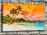 Tropical Sunset Wall Murals 2019 Canvas Painting Living Room Wall Art Frame Tropical Sea Beach Sunset Poster Print Palm Tree Seascape Home Decor From Jonemark2014