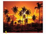 Tropical Sunset Wall Murals Jp London Md4052ps Ustrip Beach Fire Sunset Palm Beach Peel