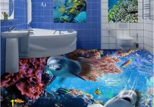 Tropical Tile Murals Fashion 3d Floor Tiles Wall Papers Home Decor Living Room Dolphin