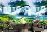 Tropical Waterfall Murals Beibehang Costom Wallpaper Flower Tree Path Waterfall Landscape