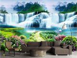 Tropical Waterfall Murals Beibehang Costom Wallpaper Flower Tree Path Waterfall Landscape