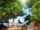 Tropical Waterfall Murals Custom Any Size 3d Wall Murals Wallpaper forest Waterfall Landscape