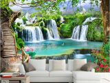 Tropical Waterfall Murals Custom Any Size Green forest Waterfall Nature Landscape 3d Mural