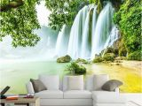 Tropical Waterfall Murals Custom Mural Wallpaper 3d Stereo Green forest Waterfalls Nature