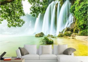 Tropical Waterfall Murals Custom Mural Wallpaper 3d Stereo Green forest Waterfalls Nature