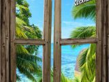 Tropical Window Wall Mural Beach Cabin Window Mural 8 E Piece Peel and Stick Canvas