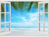 Tropical Window Wall Mural Details About 3d Window Ocean Sunset Shining Wall Art