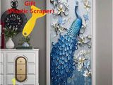 Turn Photo Into Wall Mural Amazon 3d Door Wallpaper Wall Mural Peacock Decor Door Decal