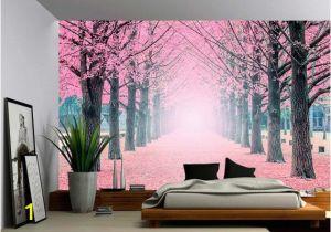 Tuscan Wall Murals Wallpaper Foggy Pink Tree Path Wall Mural Self Adhesive Vinyl Wallpaper Peel & Stick Fabric Wall Decal