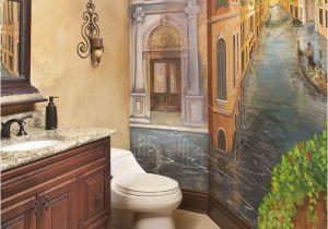 Tuscan Wall Murals Wallpaper Powder Bath with Venetian Mural