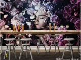 Types Of Murals On Walls northern Europe Beautiful Rose Girl Mural Wallpapers Living Room