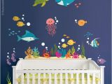 Under the Sea Murals for Walls Under the Sea Wall Decal Kids Bathroom Wall Decal Fishes Wall Decal Ocean Wall Sticker Sea Life Wall Decal Aquarium Wall Decal