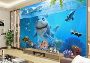 Underwater Wall Murals Uk 3d Cute Shark Wallpaper Underwater World Wall Mural Personalized