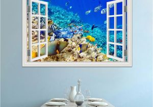 Underwater Wall Murals Uk 3d Window View Underwater World and Fish Wall Stickers Decals Pvc