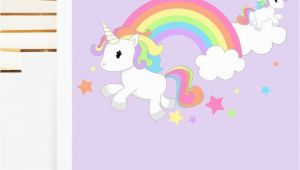 Unicorn Mural Wall Art Rainbow Unicorn & Stars Mural Wall Sticker Girl S