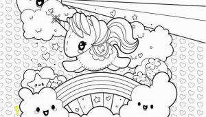 Unicorn Rainbow Coloring Pages Printable Cute Unicorn Clouds and Rainbow Coloring Page