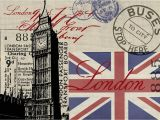 Union Jack Wall Mural Vintage London Collage Wall Mural