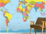 Us Map Wall Mural Colourful World Map In 2019 Kids Space