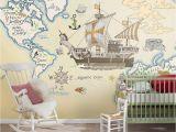 Usa Map Wall Mural Amazon Cartoon Animal Map Nautical Children S Room Non