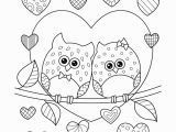 Valentines Day Coloring Pages for Adults Owls In Love with Hearts Coloring Page • Free Printable