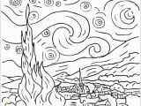 Van Gogh Starry Night Coloring Page Starry Night by Vincent Van Gogh Coloring Page Free