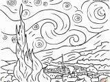 Van Gogh Starry Night Coloring Page Starry Night by Vincent Van Gogh Coloring Page