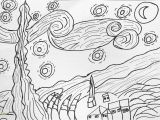 Van Gogh Starry Night Coloring Page Starry Night Coloring Page Coloring Home