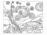 Van Gogh Starry Night Coloring Page Starry Night Coloring Sheet Drawing