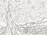 Van Gogh Starry Night Coloring Page the Starry Night 1889 by Vincent Van Gogh Adult Coloring