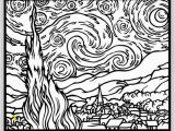Van Gogh Starry Night Coloring Page Van Gogh Coloring Page