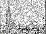 Van Gogh Starry Night Coloring Page Van Gogh Coloring Pages for Adults