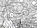 Van Gogh Starry Night Coloring Page Vincent Van Gogh Starry Starry Night